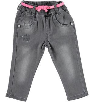 Pantalone neonata in cotone con cintura con fiocco minibanda NERO-7991