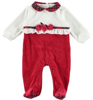 Tutina intera pr neonata impreziosita in vita da graziose rouche minibanda ROSSO - 2253