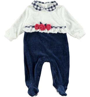 Tutina intera pr neonata impreziosita in vita da graziose rouche minibanda NAVY-3854