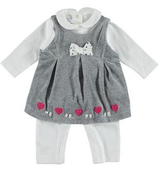 Elegante completo abitino e tutina per neonata minibanda GRIGIO - 8961