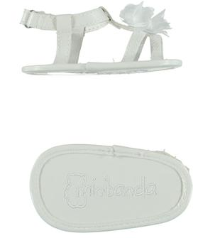 Sandalini in ecopelle con rosellina minibanda BIANCO-0113