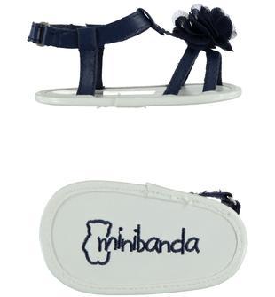 Sandalini in ecopelle con rosellina minibanda BLU INDIGO-3647