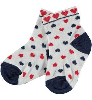 Vivaci calzini stampati minibanda BIANCO-CUORI-6S76