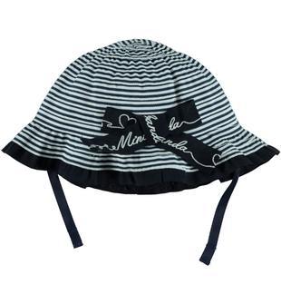 Cappellino rigato con visiera parasole minibanda BIANCO-0113