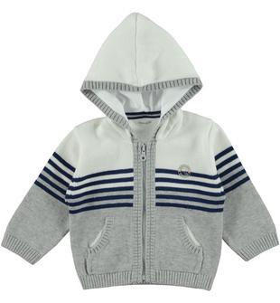 Maglia in tricot 100% cotone fantasia rigata con cappuccio minibanda GRIGIO MELANGE-8992