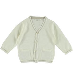 Cardigan in tricot 100% cotone con stampa sul retro minibanda PANNA-0112