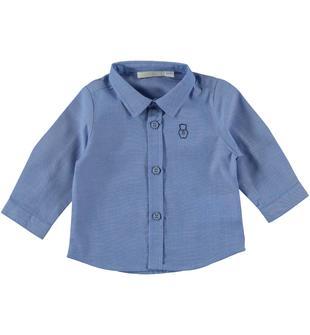 Classica camicia in elegante tessuto fil a fil minibanda AZZURRO-3814
