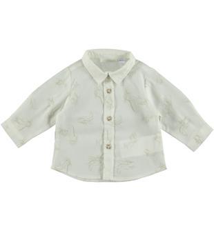 Camicia avvitata in popeline stretch di cotone con fantasia aeroplanini minibanda PANNA-BEIGE-6S17