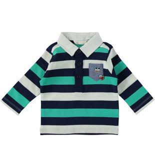 Polo rigata a manica lunga in jersey 100% cotone tinto filo minibanda VERDE ACQUA-4643