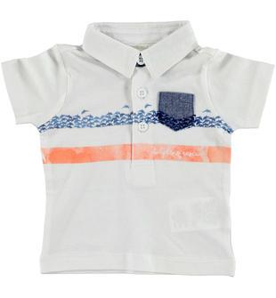 Polo a manica corta in jersey 100% cotone arricchita da motivo rigato minibanda BIANCO-0113