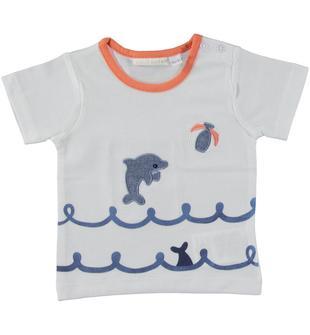 T-shirt in jersey 100% cotone con rappresentazione grafica frontale minibanda BIANCO-0113