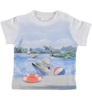 T-shirt in jersey 100% cotone con stampa delfini minibanda BIANCO-0113