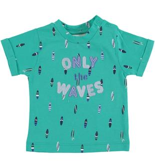 T-shirt in jersey 100% cotone stampata all over minibanda VERDE ACQUA-4643