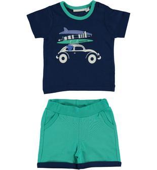 Completo in jersey 100% cotone formato da t-shirt e pantaloncino minibanda VERDE ACQUA-4643