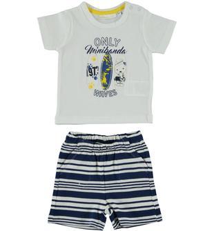 Completo in jersey 100% cotone composto da t-shirt e pantaloncino minibanda GIALLO-1433