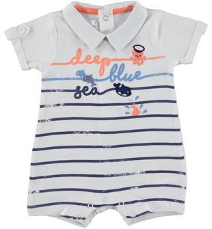 Pagliaccetto in jersey stretch di cotone con stampa ispirata all'estate minibanda BIANCO-0113