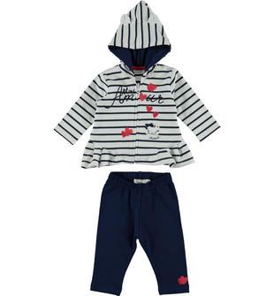 Completo in felpa stretch di cotone formato da giacchetto rigato e pantalone a contrasto minibanda NAVY-3547