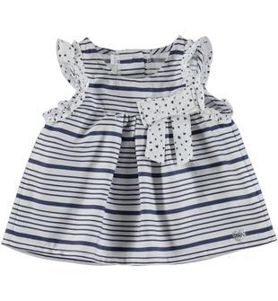 Graziosa blusa in satin 100% cotone minibanda BLU INDIGO-3647