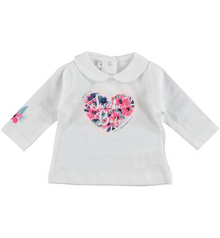 Maglietta in jersey 100% cotone con cuore floreale stampato davanti minibanda PANNA-0112