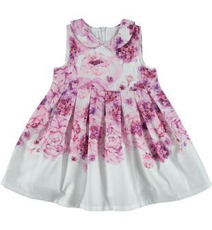 Vestitino in satin 100% cotone fantasia floreale minibanda ROSA-FIORI-6S19