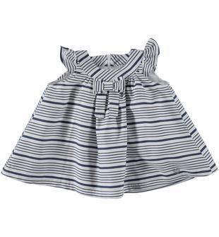 Vestitino rigato in satin 100% cotone tinto filo minibanda BLU INDIGO-3647
