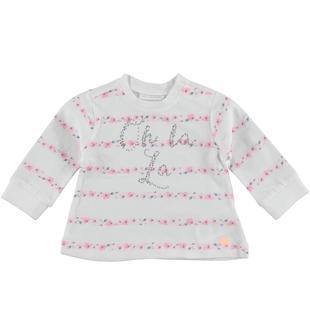 Maglietta in jersey 100% cotone con fantasia motivo riga floreale minibanda PANNA-MULTICOLOUR-6U17