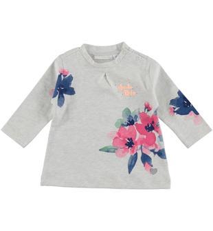 Maxi maglietta con stampa floreale in jersey 100% cotone minibanda PANNA MELANGE-8893