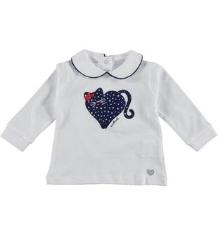 Maglietta in jersey 100% cotone decorata frontalmente con gattino ricamato minibanda NAVY-3547
