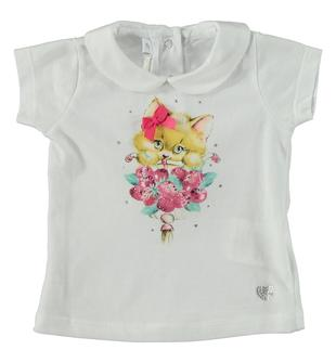 T-shirt in jersey 100% cotone con stampa frontale minibanda BIANCO-0113