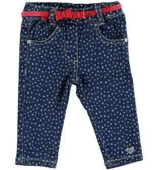 Pantalone in felpa stretch denim stampato a cuori minibanda DENIM-BIANCO-6S88