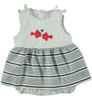 Pagliaccetto in jersey stretch di cotone con romantici pesciolini ricamati minibanda BLU INDIGO-3647