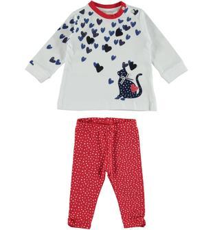 Completo formato da leggings e maxi maglietta in jersey di cotone minibanda ROSSO-BIANCO-6W09