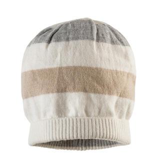 Cappellino modello cuffia con fantasia rigata minibanda PANNA-0112