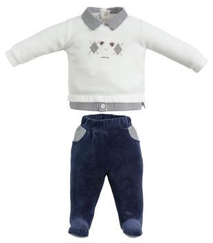 Tutina due pezzi con piede con maglietta fondo finta camicia minibanda GRIGIO-0518