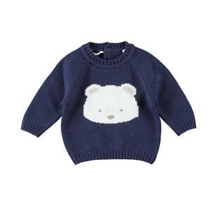 Maglioncino misto tricot con orsetto minibanda NAVY-3854