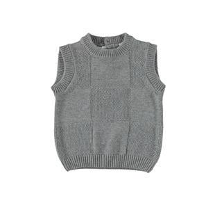 Elegante gilet misto tricot con lavorazione a scacchi minibanda GRIGIO MELANGE-8993