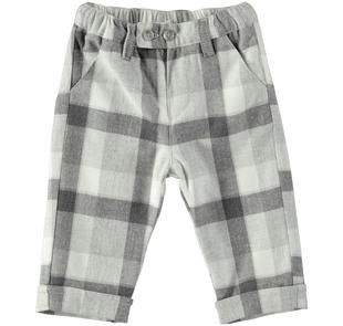 Elegante pantalone con fantasia a quadri minibanda GRIGIO MELANGE-8991