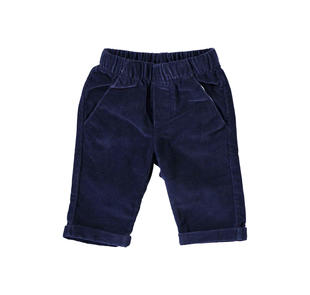 Pantalone in velluto liscio con risvolta minibanda NAVY-3854