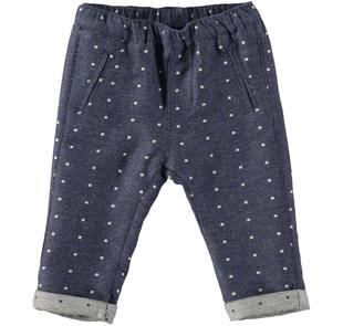 Pantalone fantasia micropois 100% cotone minibanda BLU-ECRU'-8104