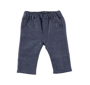 Pantalone in twill 100% cotone minibanda BLU MELANGE-8953