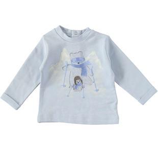 Maglietta girocollo 100% caldo cotone con orsetto e paperetta minibanda CELESTE-3613
