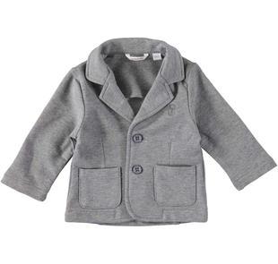 Elegante giacca avvitata in cotone elasticizzato minibanda GRIGIO MELANGE-8993