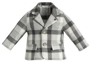 Morbida e calda giacca a quadri minibanda GRIGIO MELANGE-8991