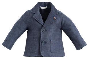 Elegante giacchina 100% cotone effetto melange minibanda BLU MELANGE-8953