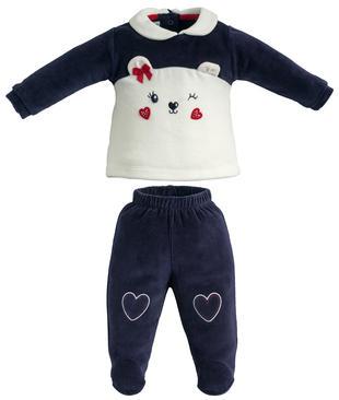 Tutina due pezzi in ciniglia con maglietta e pantalone con piede minibanda  NAVY-3854 feca82d9329