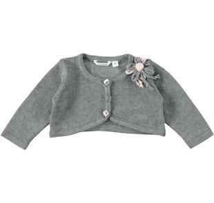 Elegante cardigan corto con rosellina minibanda GRIGIO-8961