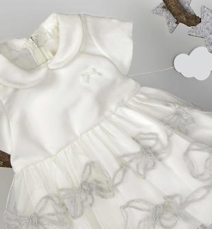 Elegante vestitino con corpino in liscio velluto e gonna in morbido tulle ricamato minibanda PANNA-0112