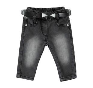 Pantalone in felpa effetto denim minibanda NERO-7990
