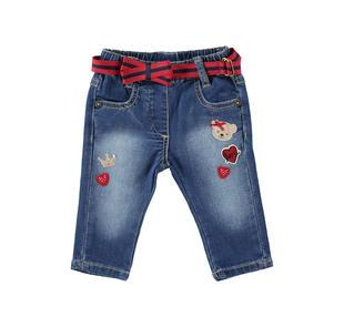 Pantalone in felpa di cotone effetto denim minibanda STONE WASHED-7450