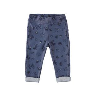 Pantalone jeggings con fantasia mix di cuori, coroncine e fiocchi minibanda DENIM-NAVY-6Y81